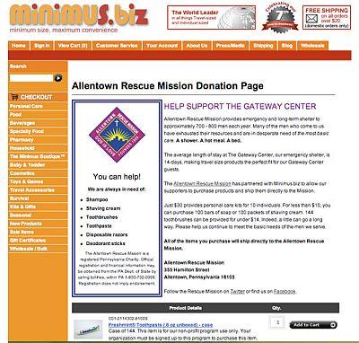 Allentown Rescue Mission Donation Page at Minimus.biz