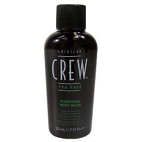 American Crew Purifying Body Wash - Tea Tree BC2-0774103-8200 - 1.7 fl oz purifying body wash in travel size plastic bottle. Deep cleanser with energizing fragrance.