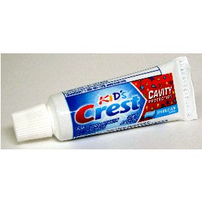 Crest Kids Toothpaste - Sparkle Fun (unboxed) C01-0114111-4100 - 0.85 oz travel size toothpaste tube. Sparkle fun Kids toothpaste. Fluoride anticavity toothpaste.