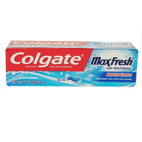 Colgate® MaxFresh® with Mini Breath Strips Anticavity Fluoride Toothpaste C01-0114205-4100-1 oz. travel sized toothpaste in tube. Cool Mint. With Whitening.