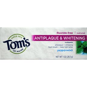 Tom's of Maine Natural Antiplaque TC&W Toothpaste - Peppermint C01-0165221-4100 - 1 oz travel size tube. Natural toothpaste. Fluoride free