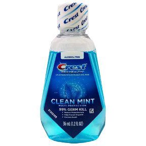 Crest Pro Health Mouthwash - Refreshing Clean Mint (blue) C01-0214101-8200 - 1.22 oz travel size mouthwash in plastic bottle.