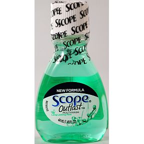 Scope Outlast Mouthwash - Mint C01-0214504-8200 - 1.49 oz mouthwash in plastic bottle, a convenient travel size for travel and on the go. Mint flavor.