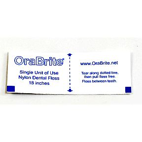 "OraLine Floss & Go C01-0528401-9000 - Single use 18"" mint waxed floss. 1 per individually sealed travel size packet."