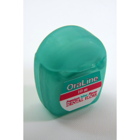 OraLine Dental Floss - mint C01-0528405-9000 - 10 meters of floss in travel size plastic dispenser.