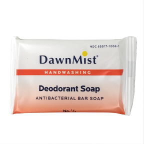DawnMist Deodorant Soap C02-0117501-8100 - # 1/2 travel size bar soap. Wrapped. Contains antibacterial agent triclosan. Gentle formula. French milled.