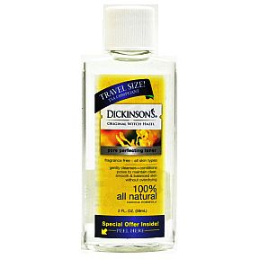 Dickinson's® Original Witch Hazel Toner C02-0156901-8200-2 fl oz travel size witch hazel astringent in plastic bottle.  Pore perfecting toner. Gentle formula.