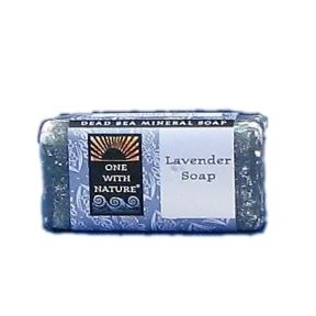 One With Nature soap bar - Lavender C02-0161301-8200 - 1.05 oz travel size bar soap. Dead sea mineral soap. Triple milled mild exfoliating bar with dead sea salts.