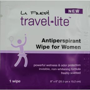 LA Fresh Travel Lite Antiperspirant Wipe for Women C02-0216803-1000 - 1 towelette for women in sealed travel size packet