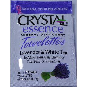 Crystal Essence Mineral Deodorant Towelette - Lavender & White Tea C02-0251603-8100 - 1 body deodorant towelette in 0.1 oz packet.