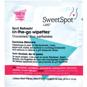 SweetSpot Labs on-the-go wipettes - unscented C02-0252100-1000 - 1 feminine cleansing wipe in travel size individually sealed packet. Alcohol-free. Biodegradable.