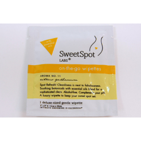 SweetSpot Labs on-the-go wipettes- citrus galbanum C02-0252103-1000 - 1 feminine cleansing wipette in travel size individually sealed packet. Alcohol-free. Biodegradable.