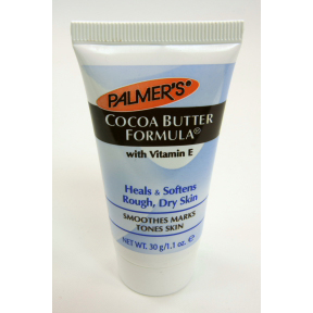 Palmers Cocoa Butter Formula C02-0323601-8200 - 1.1 oz travel size hand and body lotion in plastic tube. With cocoa butter and vitamin E. Heals and softens rough, dry skin.