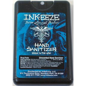 Ink-eeze Tattoo Hand Sanitizer pump C02-0370001-8100 - 0.67 oz spray in flat pastic dispenser. Unscented