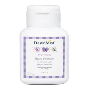 DawnMist Pure Corn Starch Baby Powder C02-0417501-8200 - 1.5 oz baby powder in travel size plastic shaker bottle. Talc-free. With aloe and vitamin E. Hypo-allergenic.