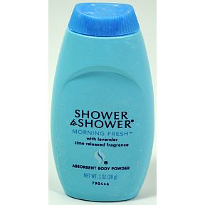 Shower to Shower Body Powder C02-0620401-8200 - 1 oz travel size absorbent body powder in plastic bottle. With lavender. Time released fragrance.