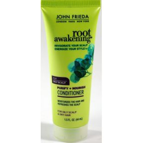 John Frieda Root Awakening Conditioner - Dry Hair C03-0253605-8200 - 1.5 oz travel size nourishing moisture conditioner in plastic tube.