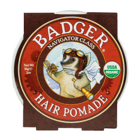 Badger® Navigator Class Man Care Hair Pomade C03-0570701-9300-2 oz. travel tin of hair pomade for men.