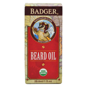 Badger® Navigator Class Man Care Beard Oil C04-0170701-8200-1 fl oz. glass bottle of beard oil. Good Grooming for Adventurous Gents.