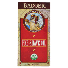 Badger® Navigator Class Man Care Pre-Shave Oil C04-0470701-8400-2 fl oz. glass bottle of pre-shave oil for men. Good Grooming for Adventurous Gents.