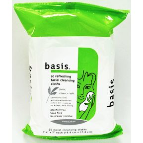 Basis® So Refreshing Facial Cleansing Cloths C05-0243301-8300-25 moist cleansing cloths in a resealable package.