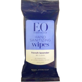 EO® Hand Sanitizer Lavender Wipes- 10 count C05-0251502-8300-Single pack. 100% Natural Bamboo Wipes. 99.9% Effective against most common germs. Stay Clean,Stay Healthy.