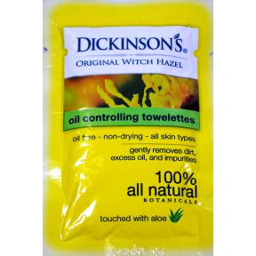 Dickinsons witch hazel facial towelette w/Aloe C05-0256901-8300 - 1 daily facial towelette in travel size individually sealed packet. 100% all natural botanicals. Oil free - non-drying - all skin types. Touched with aloe