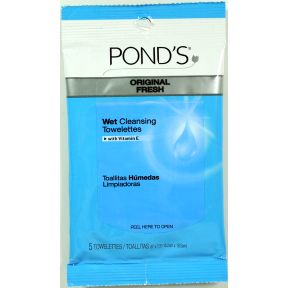 Pond's Makeup Remover Towelettes C05-0322701-8200 - 5 make-up remover towelettes in travel size resealable package. Hypoallergenic, sensitive skin formula. Deep cleanse down to the pores. Leaves skin silky smooth.