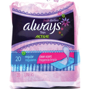 Always® Fresh Dailies Thin Active Pantiliners - scented - 20 pack C08-0328601-8300-20 pack individually wrapped, travel size, scented pantiliners. Clean Scent. Regular absorbency.