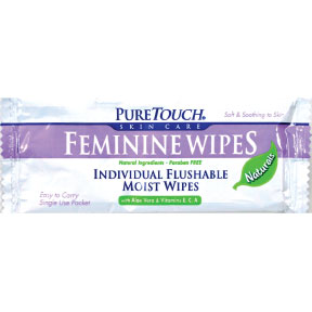 PureTouch Feminine Wipes Naturals C08-0547802-1200 - 1 flushable wipe in individually sealed travel size packet. Natural Ingredients. Paraben free. With Aloe Vera & Vitamin E, C, A.