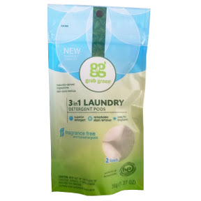 grabgreen® 3-in-1 laundry detergent pods - fragrance free D01-0164401-8200-36 g (1.27 oz) high efficiency laundry detergent in sealed package of 2 pods.