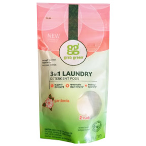 grabgreen® 3-in-1 laundry detergent pods - Gardenia D01-0164405-8200-36g (1.27 oz) high efficiency laundry detergent in sealed package of 2 pods.