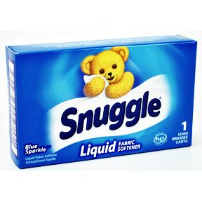 Snuggle Blue Sparkle Liquid Fabric Softener D01-0213303-4100 - 2.43 fl oz travel size in individually sealed pouch, inside box. Single use portion.