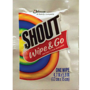 Shout Portable Wipes D01-0413000-1100 - 1 stain treatment towelette in individually sealed travel size packet.