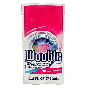 Included in the clear quart size zip bag are (8) 0. 25 oz packets of woolite laundry detergent suitable for handwashing. Also included are (3) 0. 17 oz packets of tide-to-go sport laundry detergent and (3) shout wipe and go stain remover wipes.