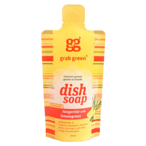 GrabGreen® Dish Soap Tangerine with Lemongrass D03-0164403-8100 - 20 ml. naturally derived, refreshing scent dish soap.
