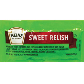 Heinz® Sweet Relish F01-0300100-1100 - 9 g. single serving packet.