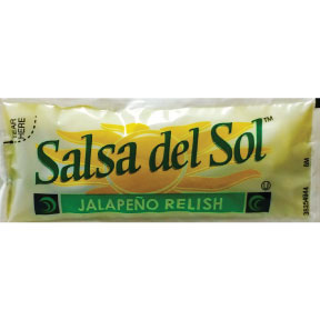 Salsa del Sol™ Jalapeno Relish F01-0300102-1100 - 9g. Packet of  hot and spicy diced jalapeño relish.