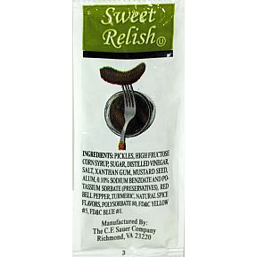 CF Sauer Sweet Relish pouch F01-0378601-1100-1 single serving size packet of Sweet Relish.