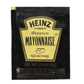 Heinz Premium Mayonnaise F01-0400101-1200,1.25 oz individual packet. Rich and creamy premium mayonnaise.