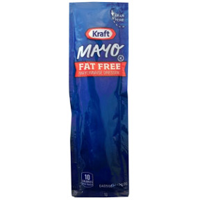 Kraft Fat Free Mayonnaise F01-0400302-1100 - 7/16 oz fat free mayonnaise packet, individual size. Zero grams of fat.