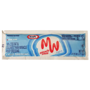 Kraft® Miracle Whip Light Dressing F01-0400305-1100-7/16 oz packet. 50% less fat and calories than Miracle whip dressing.