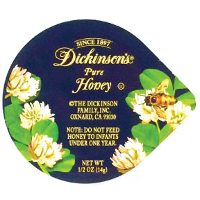 Dickinson's® Pure Honey Cup - F01-0538500-2100 - 0.5 oz. pure honey cup.