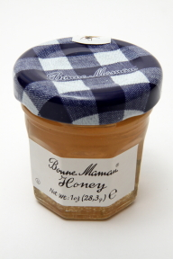 Bonne Maman Honey - jar F01-0544401-3000 - 1 oz honey in glass jar, individual size. From France.