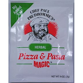 Chef Paul Prudhommes Magic Seasoning Blends - Pizza and Pasta Magic F01-0941211-1100 - .25 oz packet. No MSG, No Preservatives, No salt added.