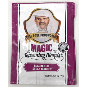 Chef Paul Prudhommes Magic Seasoning Blends - Blackened Steak Magic F01-0941215-1100 - .25 oz packet. No MSG, No Additives or preservatives.