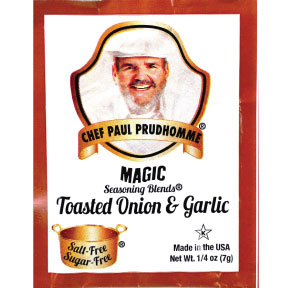 Chef Paul Prudhommes Magic Seasoning Blends - Toasted Onion and Garlic F01-0941216-1100 - .25 oz packet. No salt or sugar.  All natural, no MSG, no preservatives, gluten free.