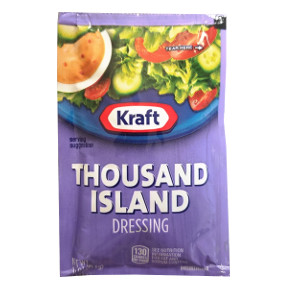 Kraft 1000 Island Dressing F02-0000303-1300 - 1.5 oz thousand island flavor salad dressing in individually sealed single serving pouch.