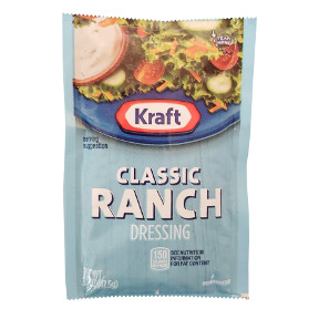 Kraft Ranch Dressing (1.5 oz pouch) F02-0000304-1300 - 1.5 oz ranch flavor salad dressing in individually sealed single serving pouch.