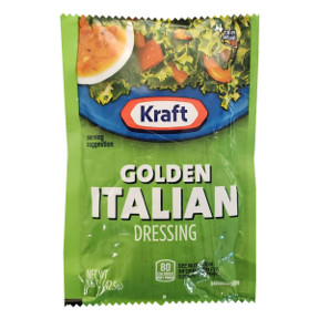 Kraft Golden Italian Dressing 1.5 oz F02-0000324-1300 - 1.5 oz salad dressing in individually sealed single serving pouch. O grams trans fat per serving.